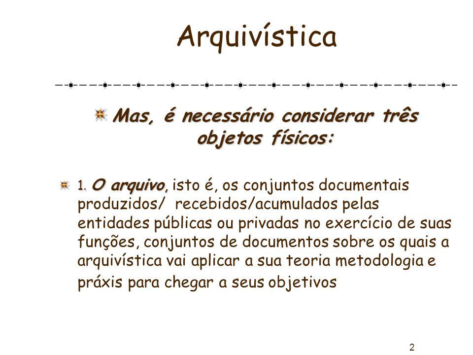 2 Arquivística Mas, é necessário considerar três objetos físicos: 1. O arquivo, 1. O arquivo, isto é, os conjuntos documentais produzidos/ recebidos/a