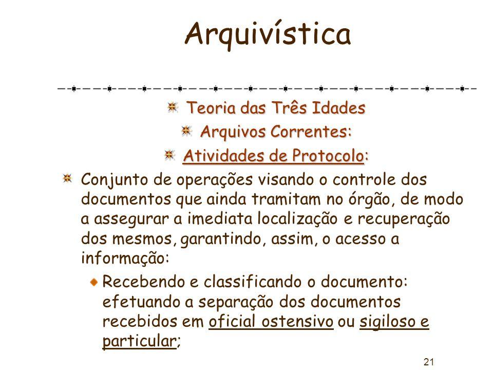 21 Arquivística Teoria das Três Idades Arquivos Correntes: Atividades de Protocolo: Conjunto de operações visando o controle dos documentos que ainda