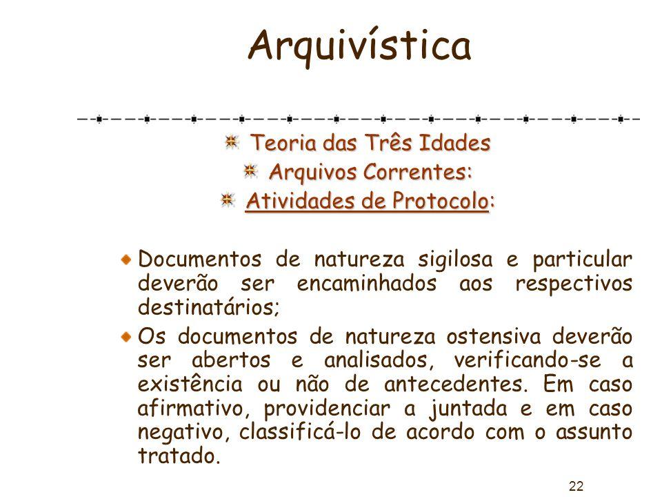 22 Arquivística Teoria das Três Idades Arquivos Correntes: Atividades de Protocolo: Documentos de natureza sigilosa e particular deverão ser encaminha