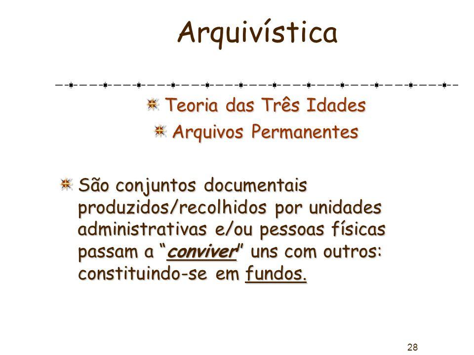 28 Arquivística Teoria das Três Idades Arquivos Permanentes São conjuntos documentais produzidos/recolhidos por unidades administrativas e/ou pessoas