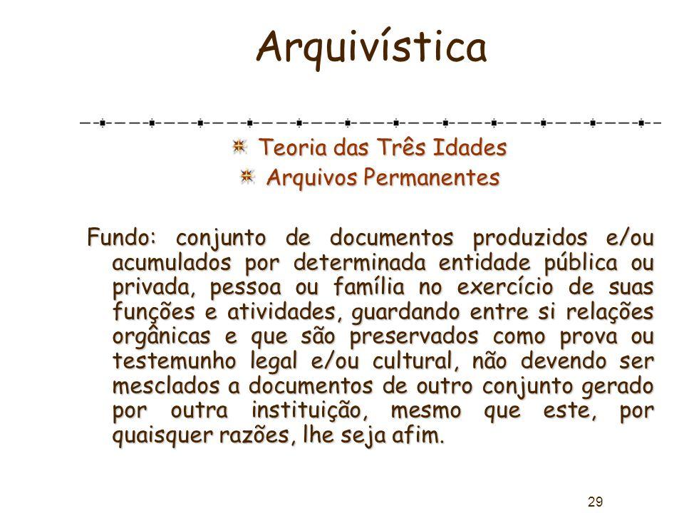 29 Arquivística Teoria das Três Idades Arquivos Permanentes Fundo: conjunto de documentos produzidos e/ou acumulados por determinada entidade pública