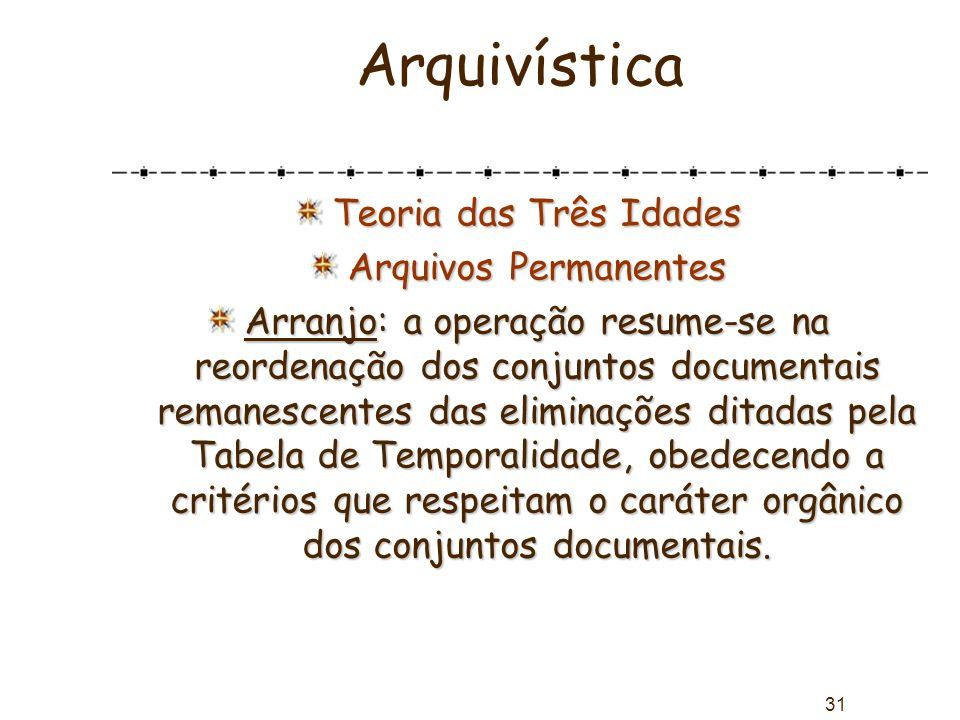 31 Arquivística Teoria das Três Idades Arquivos Permanentes Arranjo: a operação resume-se na reordenação dos conjuntos documentais remanescentes das e