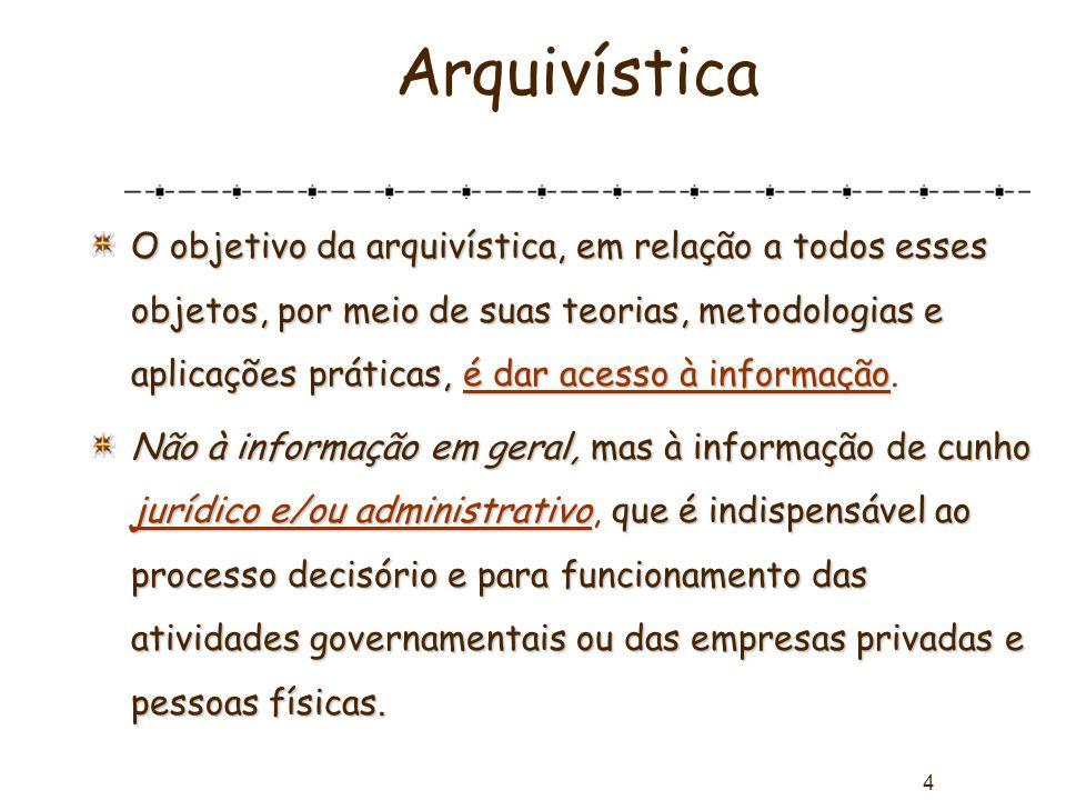 4 Arquivística O objetivo da arquivística, em relação a todos esses objetos, por meio de suas teorias, metodologias e aplicações práticas, é dar acess