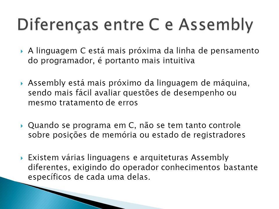  A linguagem C está mais próxima da linha de pensamento do programador, é portanto mais intuitiva  Assembly está mais próximo da linguagem de máquin