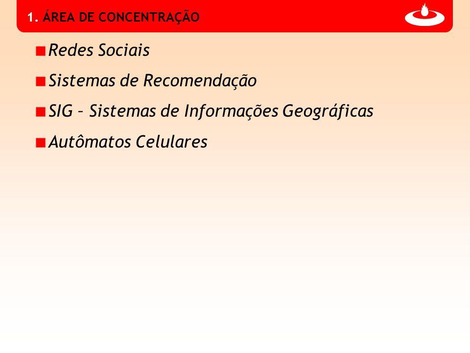 1. ÁREA DE CONCENTRAÇÃO Redes Sociais Sistemas de Recomendação SIG – Sistemas de Informações Geográficas Autômatos Celulares