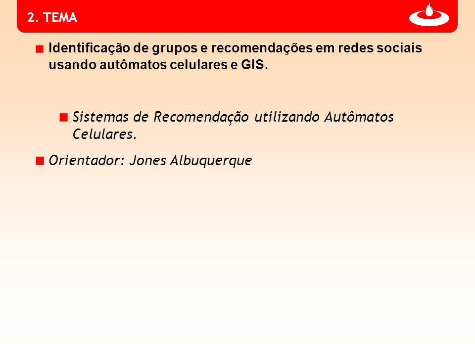 2.TEMA Identificação de grupos e recomendações em redes sociais usando autômatos celulares e GIS.