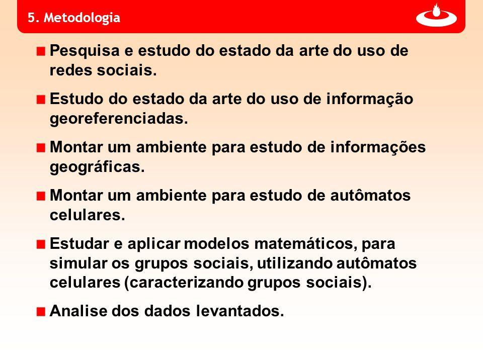 5. Metodologia Pesquisa e estudo do estado da arte do uso de redes sociais. Estudo do estado da arte do uso de informação georeferenciadas. Montar um