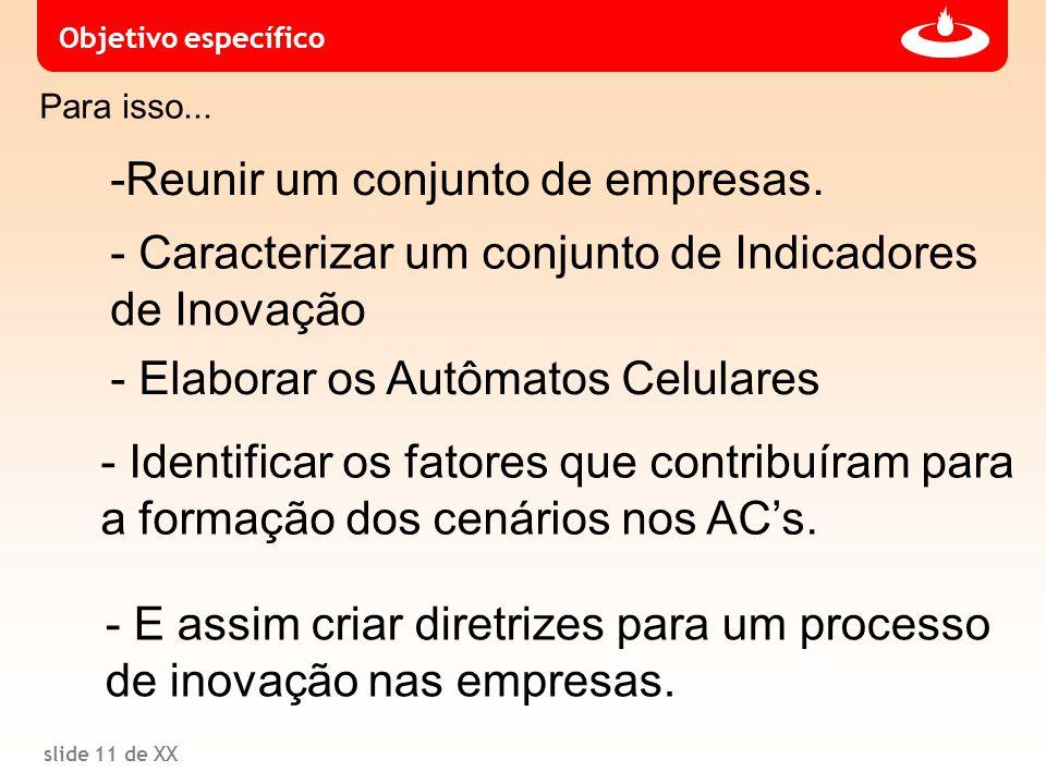 slide 11 de XX Para isso... - Caracterizar um conjunto de Indicadores de Inovação -Reunir um conjunto de empresas. Objetivo específico - Elaborar os A