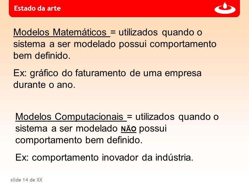 slide 14 de XX Modelos Matemáticos = utilizados quando o sistema a ser modelado possui comportamento bem definido. Ex: gráfico do faturamento de uma e