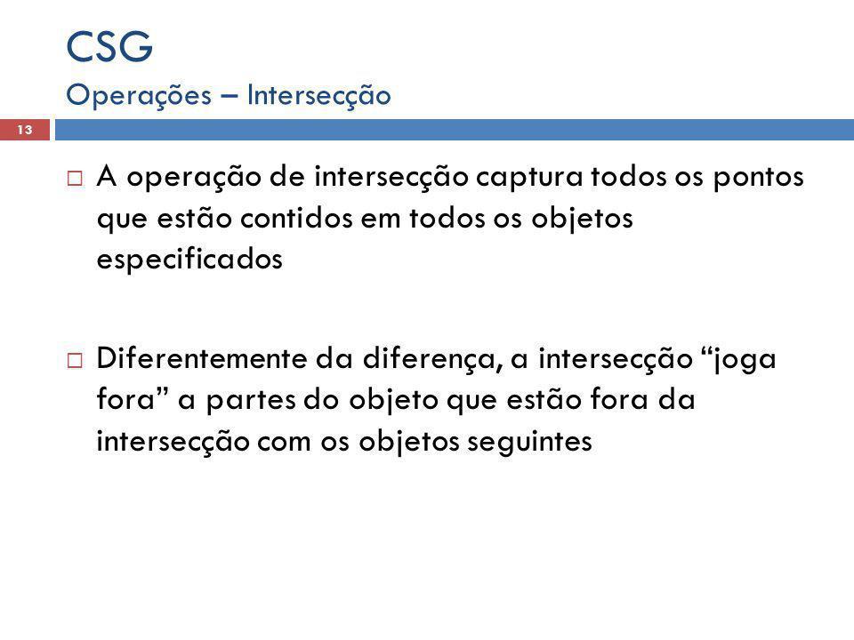  A operação de intersecção captura todos os pontos que estão contidos em todos os objetos especificados  Diferentemente da diferença, a intersecção