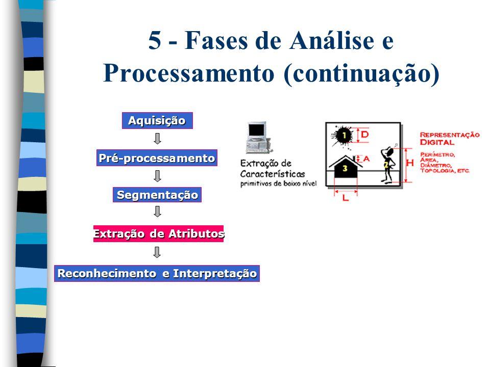 5 - Fases de Análise e Processamento (continuação) Aquisição Pré-processamento Segmentação Extração de Atributos Reconhecimento e Interpretação