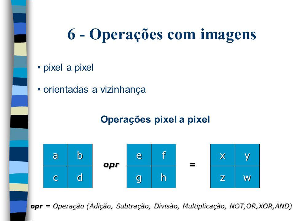 6 - Operações com imagens pixel a pixel orientadas a vizinhança a d b c e h f g opr opr = Operação (Adição, Subtração, Divisão, Multiplicação, NOT,OR,XOR,AND) = x w y z Operações pixel a pixel