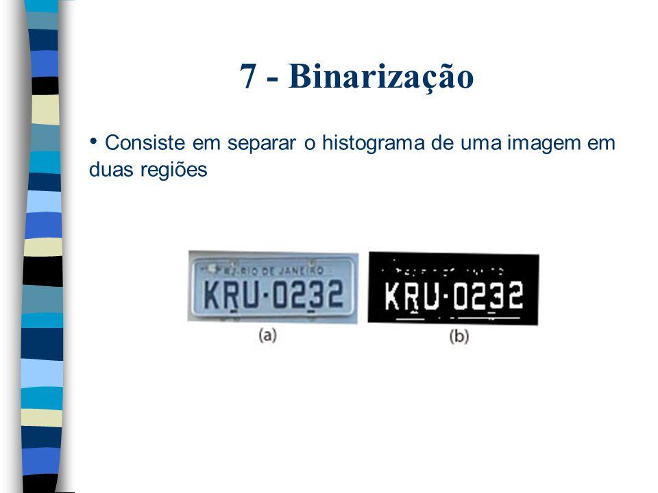 7 - Binarização Consiste em separar o histograma de uma imagem em duas regiões