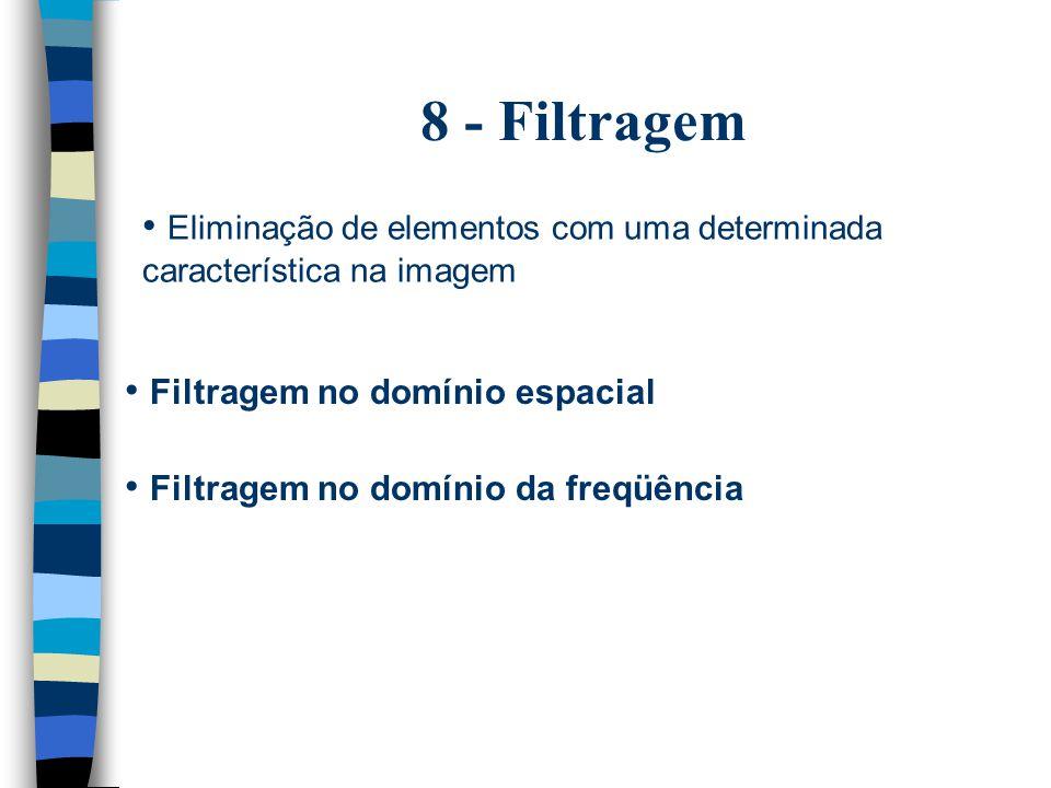 8 - Filtragem Eliminação de elementos com uma determinada característica na imagem Filtragem no domínio espacial Filtragem no domínio da freqüência