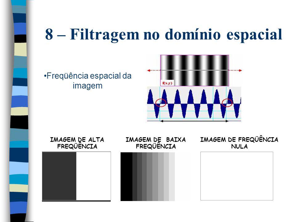 8 – Filtragem no domínio espacial Freqüência espacial da imagem IMAGEM DE FREQÜÊNCIA NULA IMAGEM DE ALTA FREQÜÊNCIA IMAGEM DE BAIXA FREQÜÊNCIA
