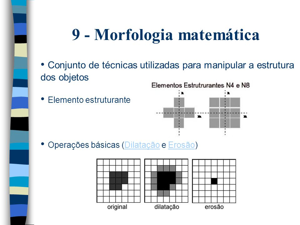9 - Morfologia matemática Conjunto de técnicas utilizadas para manipular a estrutura dos objetos Elemento estruturante Operações básicas (Dilatação e Erosão)DilataçãoErosão