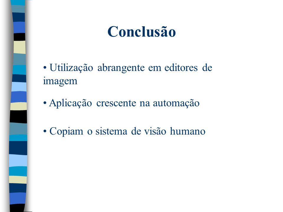 Conclusão Utilização abrangente em editores de imagem Aplicação crescente na automação Copiam o sistema de visão humano