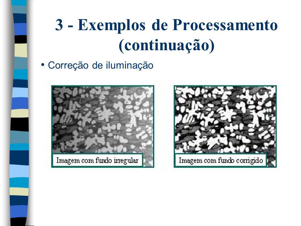 3 - Exemplos de Processamento (continuação) Correção de iluminação