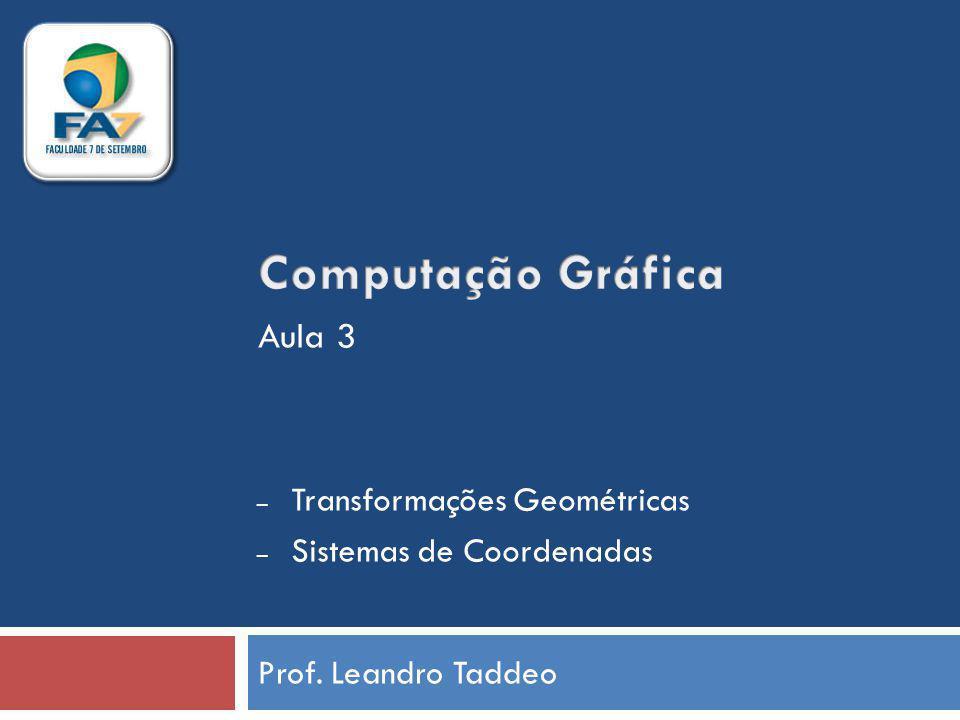 Prof. Leandro Taddeo – Transformações Geométricas – Sistemas de Coordenadas Aula 3