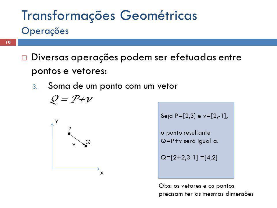  Diversas operações podem ser efetuadas entre pontos e vetores: 3. Soma de um ponto com um vetor Q = P+v Operações 10 Transformações Geométricas x y