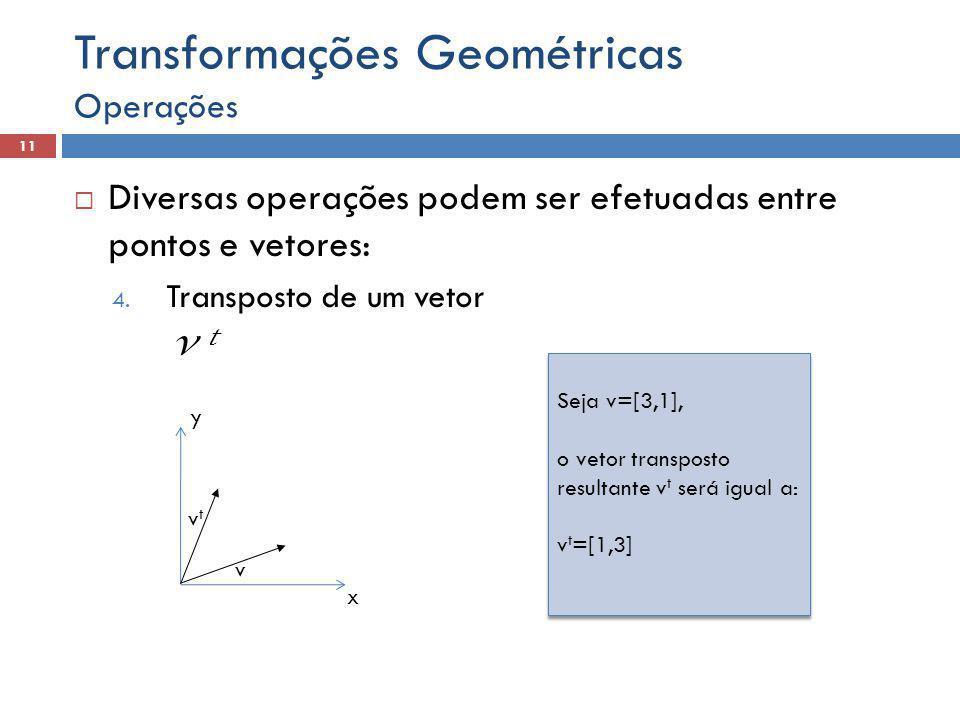  Diversas operações podem ser efetuadas entre pontos e vetores: 4. Transposto de um vetor v t Operações 11 Transformações Geométricas x y v Seja v=[3