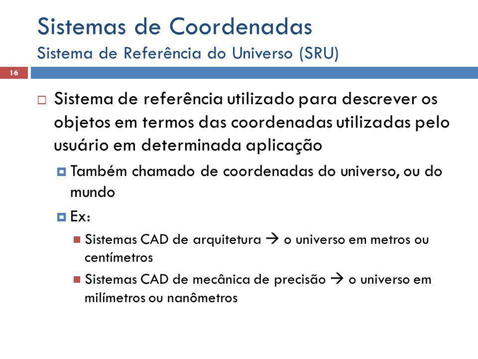  Sistema de referência utilizado para descrever os objetos em termos das coordenadas utilizadas pelo usuário em determinada aplicação  Também chamad