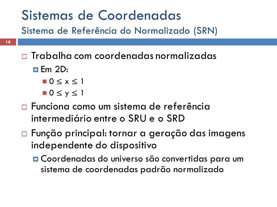  Trabalha com coordenadas normalizadas  Em 2D: 0 ≤ x ≤ 1 0 ≤ y ≤ 1  Funciona como um sistema de referência intermediário entre o SRU e o SRD  Função principal: tornar a geração das imagens independente do dispositivo  Coordenadas do universo são convertidas para um sistema de coordenadas padrão normalizado Sistema de Referência do Normalizado (SRN) 18 Sistemas de Coordenadas