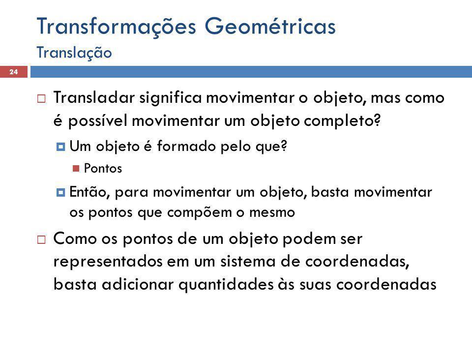  Transladar significa movimentar o objeto, mas como é possível movimentar um objeto completo.