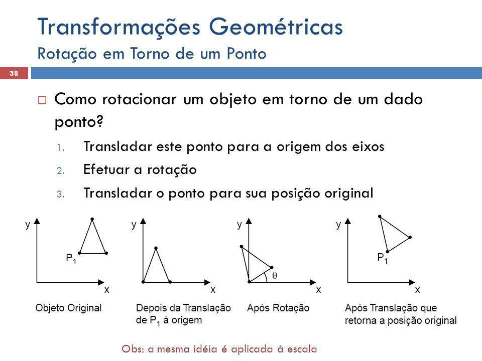  Como rotacionar um objeto em torno de um dado ponto? 1. Transladar este ponto para a origem dos eixos 2. Efetuar a rotação 3. Transladar o ponto par