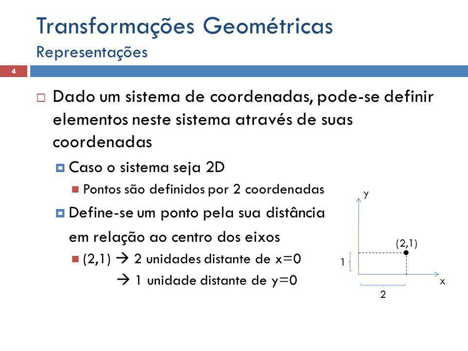  Dado um sistema de coordenadas, pode-se definir elementos neste sistema através de suas coordenadas  Caso o sistema seja 2D Pontos são definidos por 2 coordenadas  Define-se um ponto pela sua distância em relação ao centro dos eixos (2,1)  2 unidades distante de x=0  1 unidade distante de y=0 Representações 4 Transformações Geométricas x y (2,1) 1 2
