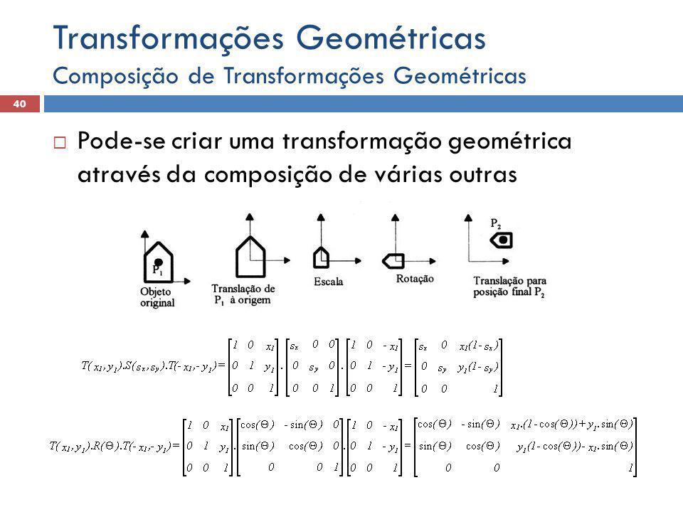  Pode-se criar uma transformação geométrica através da composição de várias outras Composição de Transformações Geométricas 40 Transformações Geométricas