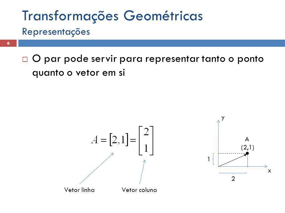  O par pode servir para representar tanto o ponto quanto o vetor em si Representações 6 Transformações Geométricas x y A (2,1) 1 2 Vetor linhaVetor c