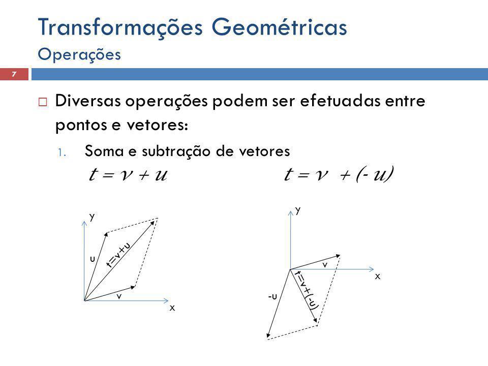  Diversas operações podem ser efetuadas entre pontos e vetores: 1. Soma e subtração de vetores t = v + ut = v + (- u) Operações 7 Transformações Geom