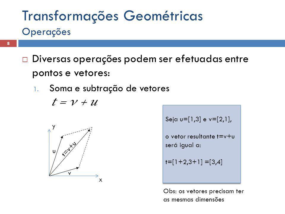  Diversas operações podem ser efetuadas entre pontos e vetores: 1. Soma e subtração de vetores t = v + u Operações 8 Transformações Geométricas Seja