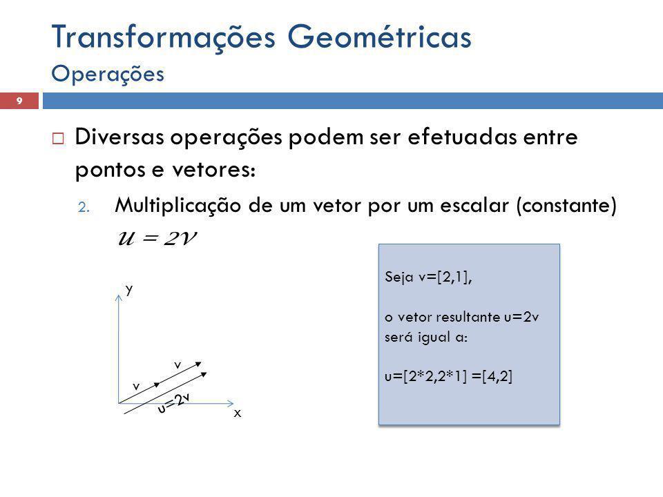  Diversas operações podem ser efetuadas entre pontos e vetores: 2. Multiplicação de um vetor por um escalar (constante) u = 2v Operações 9 Transforma