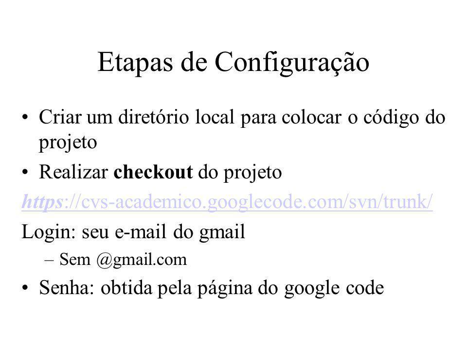 Etapas de Configuração Criar um diretório local para colocar o código do projeto Realizar checkout do projeto https://cvs-academico.googlecode.com/svn/trunk/ Login: seu e-mail do gmail –Sem @gmail.com Senha: obtida pela página do google code