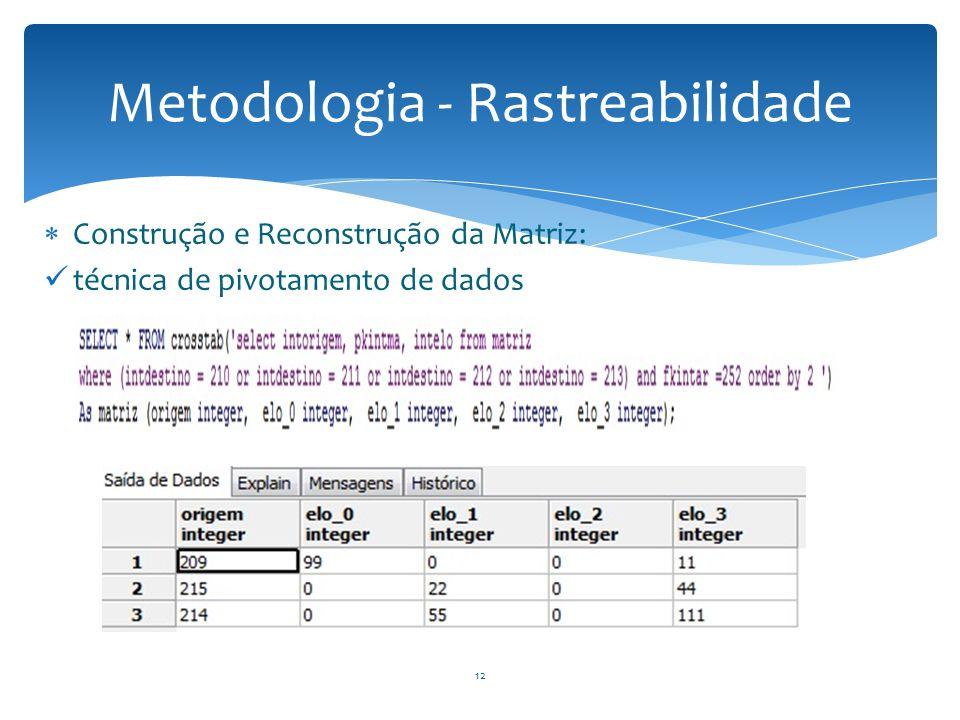  Construção e Reconstrução da Matriz: técnica de pivotamento de dados Metodologia - Rastreabilidade 12