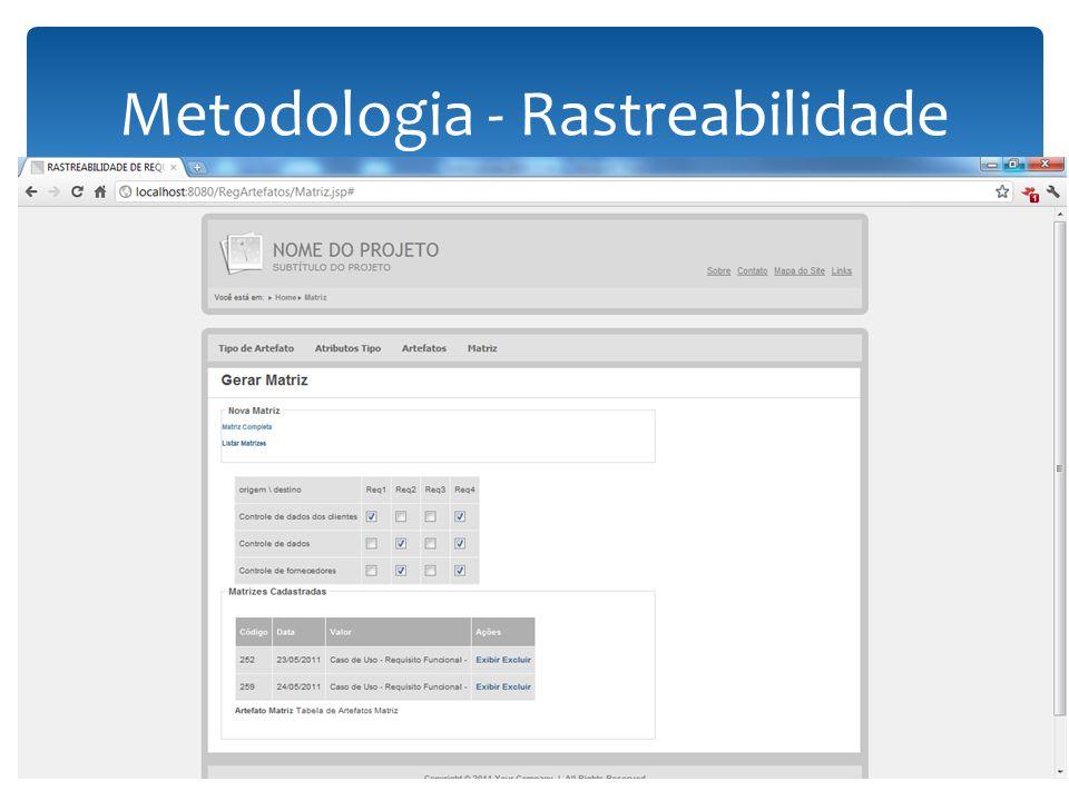 Metodologia - Rastreabilidade 13