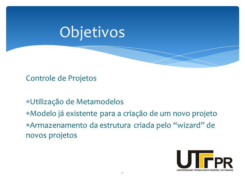 """Controle de Projetos  Utilização de Metamodelos  Modelo já existente para a criação de um novo projeto  Armazenamento da estrutura criada pelo """"wiz"""