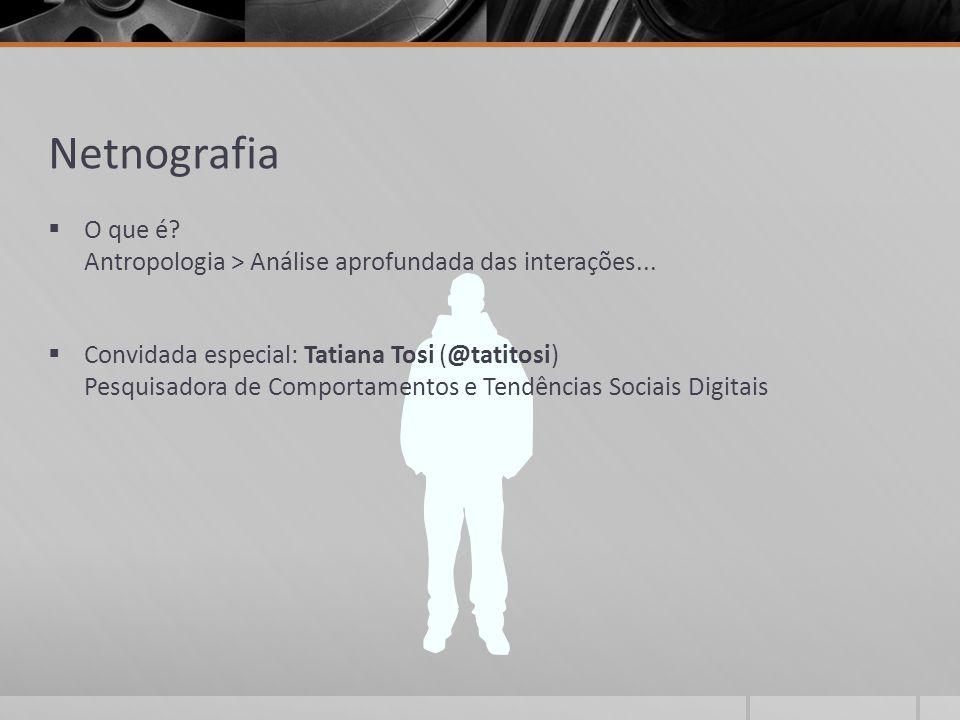 Netnografia  O que é? Antropologia > Análise aprofundada das interações...  Convidada especial: Tatiana Tosi (@tatitosi) Pesquisadora de Comportamen