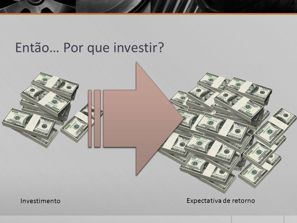 Então… Por que investir? Investimento Expectativa de retorno