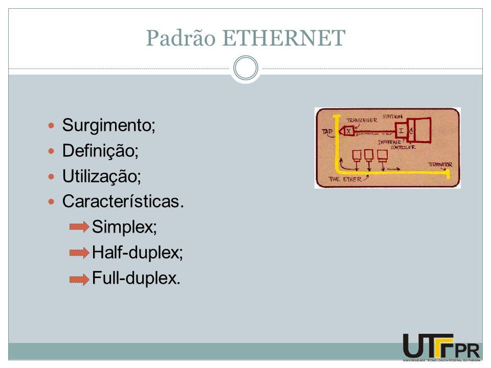 Padrão ETHERNET Surgimento; Definição; Utilização; Características. Simplex; Half-duplex; Full-duplex.