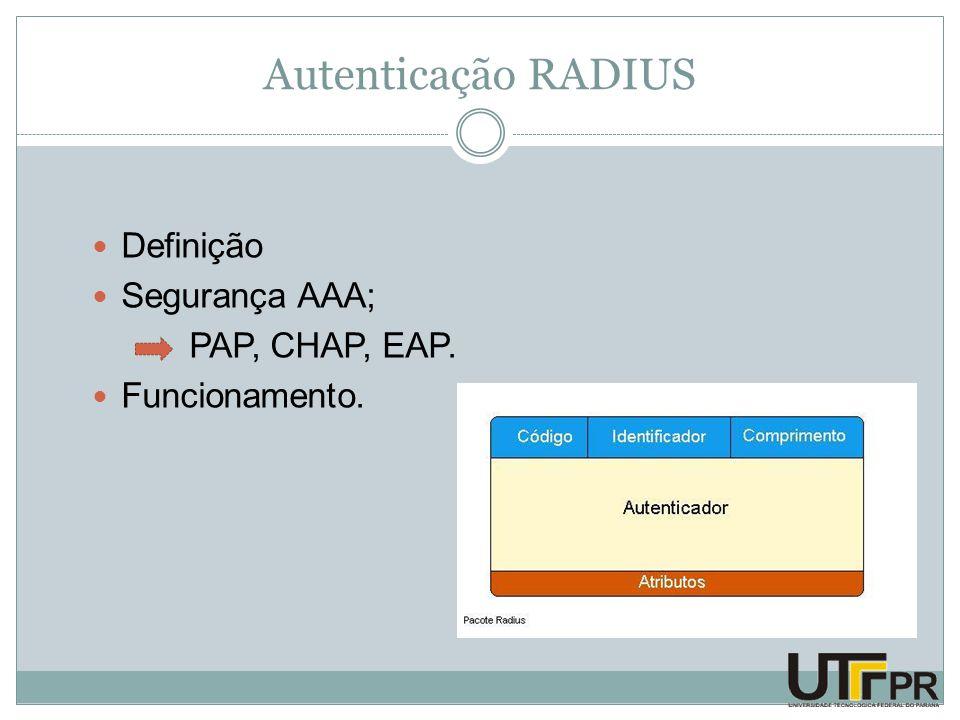 Autenticação RADIUS Definição Segurança AAA; PAP, CHAP, EAP. Funcionamento.