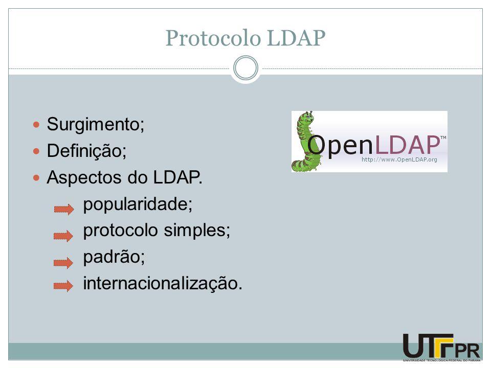 Protocolo LDAP Surgimento; Definição; Aspectos do LDAP. popularidade; protocolo simples; padrão; internacionalização.