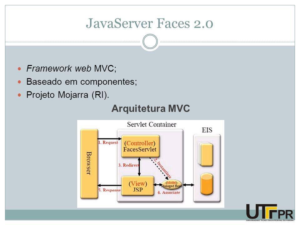 JavaServer Faces 2.0 Framework web MVC; Baseado em componentes; Projeto Mojarra (RI).
