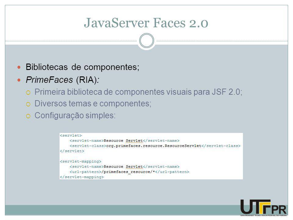 JavaServer Faces 2.0 Bibliotecas de componentes; PrimeFaces (RIA):  Primeira biblioteca de componentes visuais para JSF 2.0;  Diversos temas e componentes;  Configuração simples:
