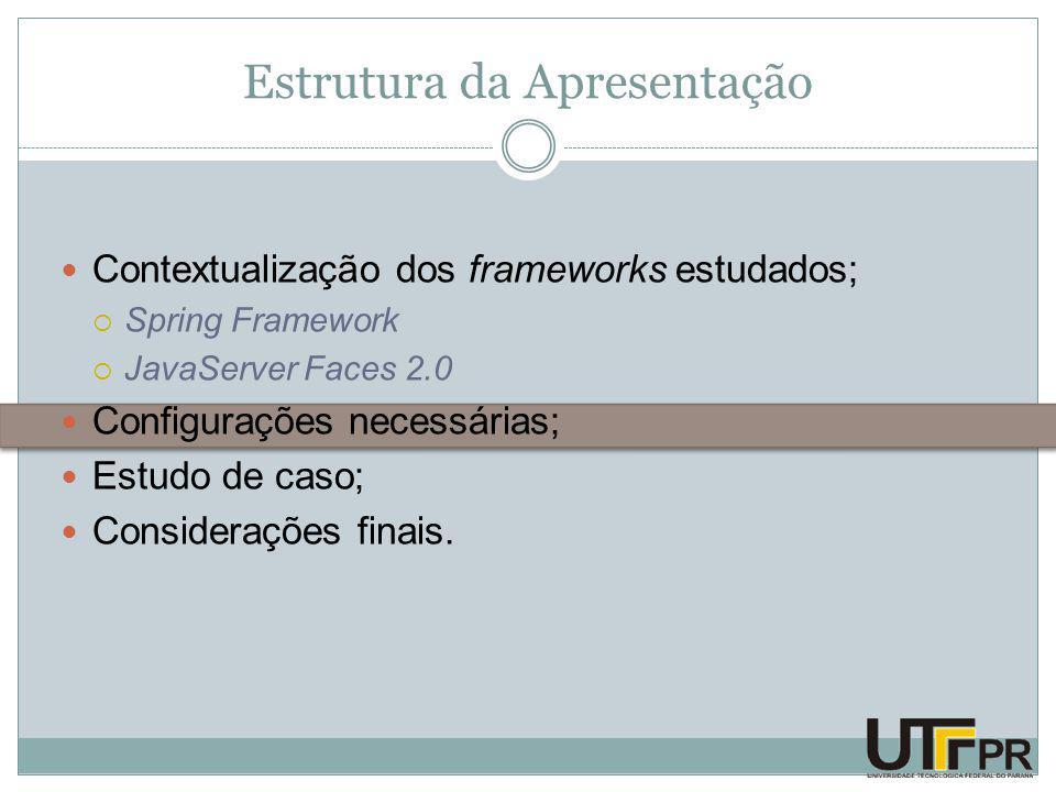 Estrutura da Apresentação Contextualização dos frameworks estudados;  Spring Framework  JavaServer Faces 2.0 Configurações necessárias; Estudo de caso; Considerações finais.