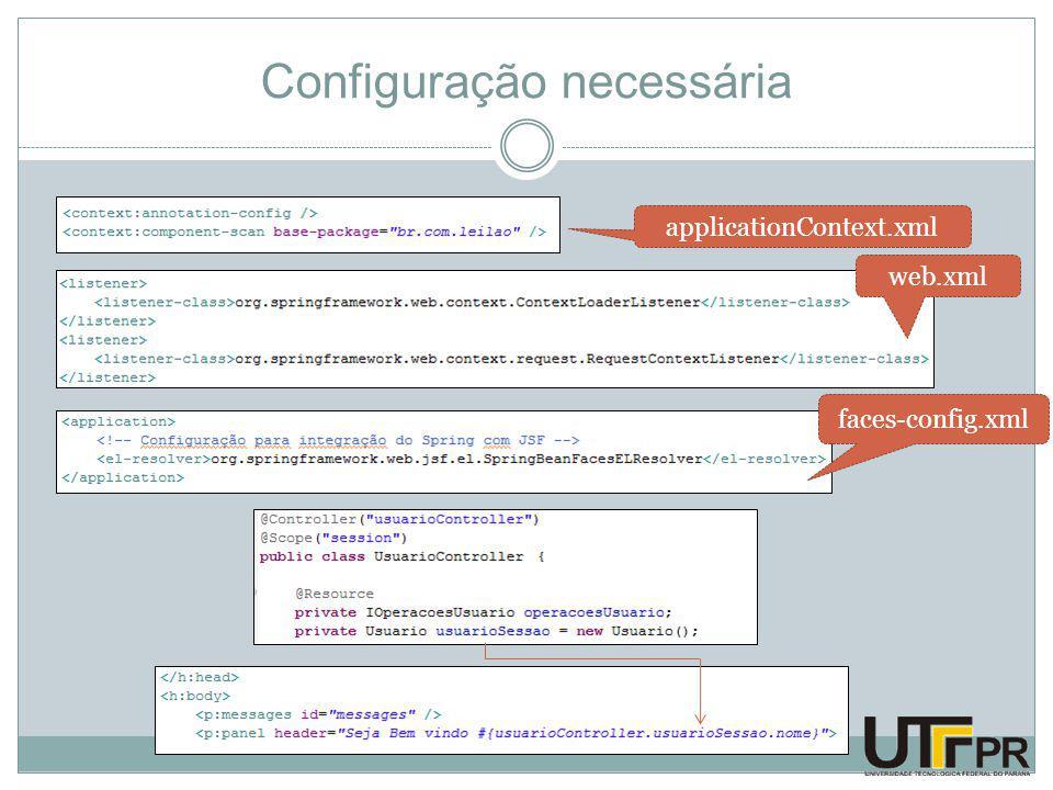 Configuração necessária faces-config.xml applicationContext.xml web.xml