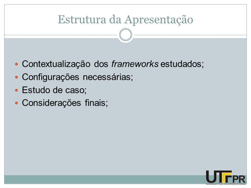 Estrutura da Apresentação Contextualização dos frameworks estudados; Configurações necessárias; Estudo de caso; Considerações finais;