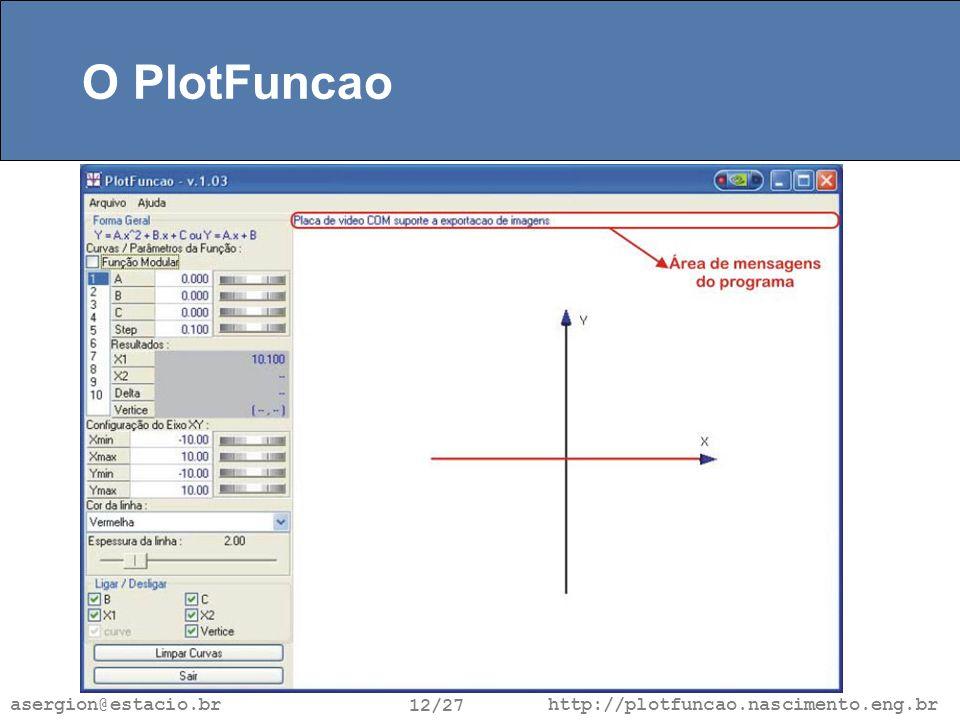 http://plotfuncao.nascimento.eng.br 12/27 asergion@estacio.br O PlotFuncao